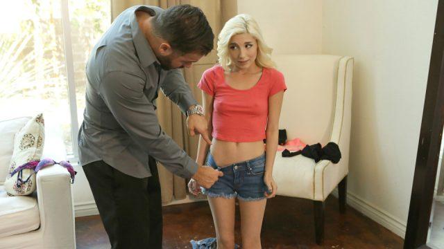 Cute blonde does not wear underwear